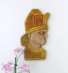 Sculpture murale masque de femme art tribal art et par Syell