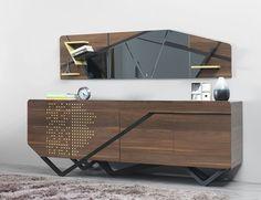 IMPACT wallnut collection on Behance Industrial Design Furniture, Luxury Furniture, Home Furniture, Furniture Design, Industrial Shelving, Dressing Table Design, Modern Buffet, Interior Architecture, Interior Design