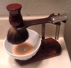 One of a Kind Shaving Razor and Brush Stand on Etsy