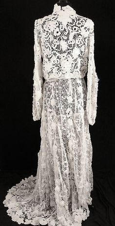 French Victorian hand made, two piece lace wedding dress, with heavy ivory and white cotton Irish Crochet.