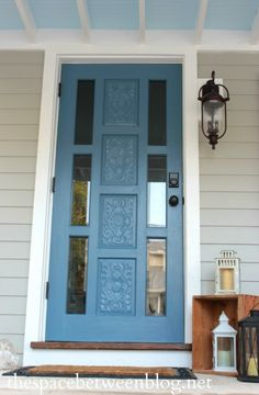 A complete DIY front porch makeover with many resources for budget friendly curb appeal ideas. Exterior Door Colors, Exterior Stairs, Front Door Colors, Front Door Decor, Exterior Doors, Front Doors, Curb Appeal Porch, Front Porch Makeover, Small Front Porches