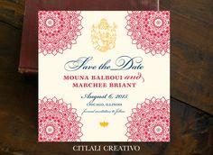 Mandala Ganesha Indian Wedding Save the Date Square Card - Citlali Creativo LLC