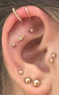 gold cartilage ear piercing ideas multiple combinations tragus stud earrings helix ring hoops