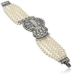 """Amazon.com: Ben-Amun Jewelry Swarovski Crystal and Pearl Deco Bow Bracelet, 6.75"""": Amazon Pearl Bracelets: Jewelry"""