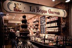 Belgian chocolate shop window in Brussels, Belgium (near Grand Place)