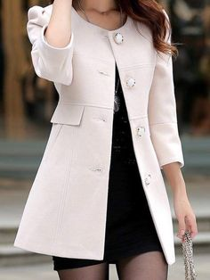 New White Single Breasted Round Neck Sleeve Elegant Coat Winter Fashion Outfits, Suit Fashion, Hijab Fashion, Fall Outfits, Winter Coats Women, Coats For Women, Clothes For Women, Iranian Women Fashion, Korean Fashion