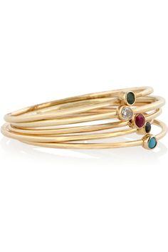 Jennifer Meyer Set of five 18-karat gold multi-stone stackable rings NET-A-PORTER.COM