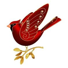 Ruby Red Cardinal Premium Ornament, , large