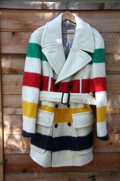 HUDSONS BAY Blanket Classic Stripe Point Blanket Wool Coat Mens Size M. $224.99, via Etsy.