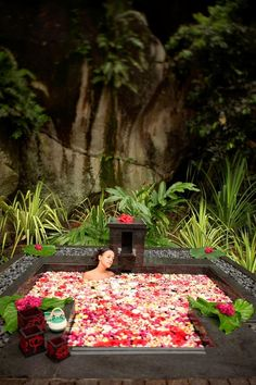 Seychelles flower bath Tropical summer beach vacation escape