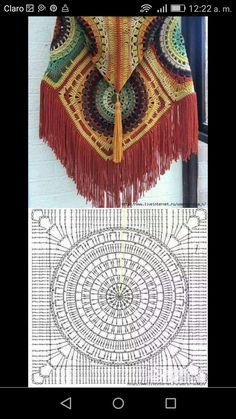 Crochet Granny Square Poncho Beautiful New Ideas Poncho Crochet, Crochet Motifs, Crochet Mandala, Crochet Diagram, Crochet Chart, Crochet Squares, Crochet Granny, Crochet Lace, Crochet Stitches