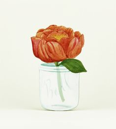 hand painted 3-D peony - cute for decorating your office or other neglected corner of your home