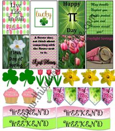 Pink and green themed free March planner stickers to decorate your Life or Happy planner! PDF or PNG file to use with your cutting machine.