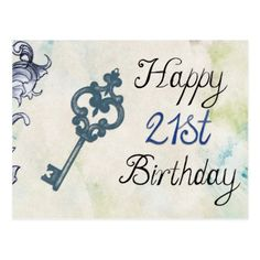 Happy 21st Birthday Victorian Key Postcard