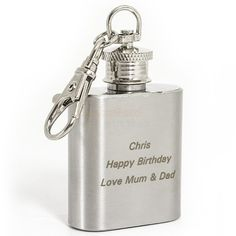 Personalise this Stainless Steel Hip Flask Keyring with three lines, 15 characters per line.Steel is the material for an Wedding Anniversary and this Hipflask Keyring would make the perfect gift!