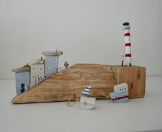 Driftwood Cottages,Boats & Lighthouse by upcycleartcreations on Etsy