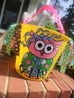 Whoooty owl, PrePPy  ribbon buckets, graduation,mothers day, teacher gifts, beach, birthday .... design your own, hand painted bucketl. $26.00, via Etsy.