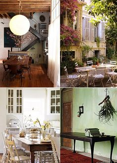 I want an outdoor dining area next summer!  Great table (upper R) with a mishmash of chairs (bottom L)