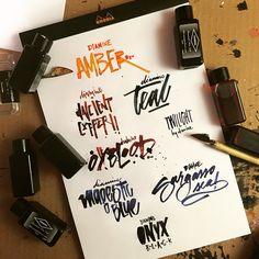 """Breaking in a folded nib by sampling some new mini bottles from Diamine. #ink #pen #foldednib #calligraphy #handlettered #diamine #mondaymatchup…"""