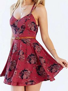 Dark Red Floral Spaghetti Strap Cross Back Two Layer Dress | Persunmall