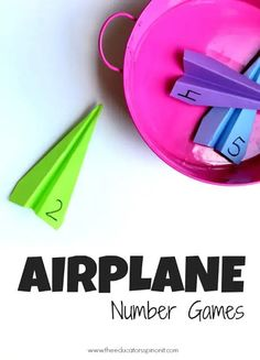 Airplane Number Games for Preschool Math Airplane Number Games for kids to practice recognizing numbers Easy to make, fun to play. 3 more game variations included! Airplane Games For Kids, Number Games For Kids, Number Games Preschool, Airplane Activities, Art Therapy Activities, Preschool Learning Activities, Learning Numbers, Games For Toddlers, Math For Kids