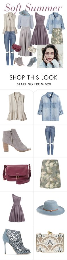 """""""547. Soft Summer"""" by natlik ❤ liked on Polyvore featuring Rebecca Taylor, H&M, Mint Velvet, Topshop, FOSSIL, Hobbs, Nordstrom, Sergio Rossi, KOTUR and softsummer"""
