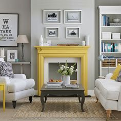 Pale grey living room with yellow fireplace | Living room decorating | Ideal Home | Housetohome.co.uk