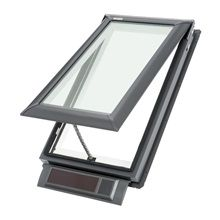 """VELUX Solar-Powered Venting Impact Skylight (Actual: x at Lowe's. VELUX VSS solar powered """"Fresh Air"""" skylights light up your home and provide ventilation using only the power of the sun. It features a solar panel that Luz Natural, Natural Light, Solar Energy, Solar Power, Renewable Energy, Home Depot, Roof Flashing, Laminated Glass, Lowes Home"""