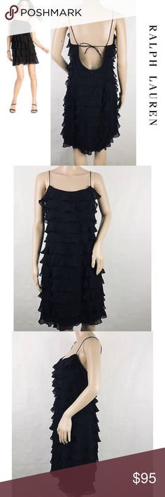 "NWOT {R.LAUREN}💯 % Silk Tiered Ruffle Party Dress ▪️A sublime staple for any wardrobe — a perfect LBD! ▪️Sophisticated & elegant, yet also fun and flirty! ▪️Luxurious, high-end 💯% silk tiered ruffles move gracefully and create an ultra flattering & chic silhouette on any type of figure ▪️Delicate spaghetti straps ▪️Hidden back zip closure ▪️Fully lined  APPROX. MEASUREMENTS: 🔹17"" Bottom of arm holes across 🔹23"" Length  🔺🔻NEW! NEVER WORN! 🔻🔺 {Bought for an upcoming party, but lost…"