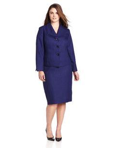 Le Suit Women's Plus-Size 3 Button Herringbone  Collar Jacket with Skirt Suit Set, Royal Purple, 16