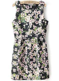 Navy Sleeveless Jacquard Floral Pleated Dress - Sheinside.com