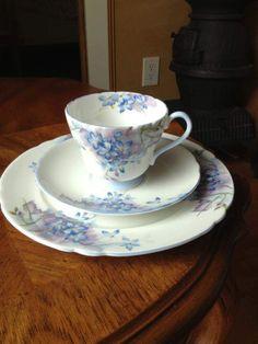 Shelley Fine Bone China ENGLAND Richmond Trio Blue Spray 12634 Cup Saucer Plate #Shelley