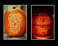 Beautiful Day of the Dead Pumpkin carved by Brad Smith. Maybe if I started carving now. Fake Pumpkins, Halloween Pumpkins, Halloween Crafts, Halloween Decorations, Carved Pumpkins, Halloween Stuff, Halloween Ideas, Halloween Party, Halloween Costumes
