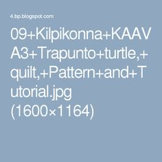 09+Kilpikonna+KAAVA3+Trapunto+turtle,+quilt,+Pattern+and+Tutorial.jpg (1600×1164)