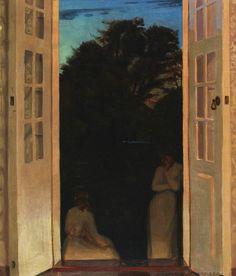Evening with two women conversation, Harold Slott-Muller (1864-1927)