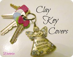 Thanks clay, easy clay project, DIY Key cover awesome pin Polymer Clay Projects, Diy Clay, Polymer Clay Jewelry, Fun Crafts For Kids, Crafts To Make, Art Crafts, Kids Fun, Key Decorations, Handmade Angels