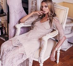 Bohemian dress boho style wedding boho gown boho by AnnaSkoblikova Boho Gown, Boho Wedding Dress, Wedding Dresses, Wedding Shoes, Lace Wedding, Bohemian Mode, Boho Chic, Bohemian Schick, Essense Of Australia
