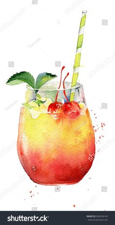 drawn isolated cocktail on white background.Hand drawn isolated cocktail on white background. Watercolor Food, Watercolor Trees, Watercolor Background, Abstract Watercolor, Watercolor Illustration, Simple Watercolor, Tattoo Watercolor, Watercolor Animals, Watercolor Landscape