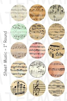 Sheet Music  4 x 6 Digital Collage Sheet   1 inch by OldMarket, $2.00  Tons of printables at this etsy shop