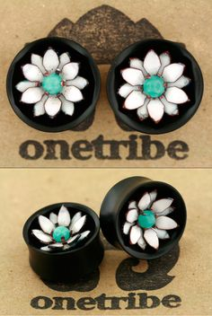 """onetribeorganics:    We are ready to show a sneak peek of our new hand cut copper and glass enamel flowers, and we've just finished up a few pairs to take to the Cape Fear Tattoo Festival in North Carolina this weekend. This pair is 1"""" (25.4mm) and features a double layer white 12 petal flower with a 6mm prong set amazonite cabochon. Stop by the tattoo fest for a look, and keep an eye on our website for forthcoming pieces available for purchase."""