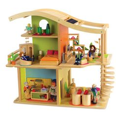 Sunshine Dollhouse - Furnished at Hape Toys - solar panels, LED lights, bamboo construction -a treehugger's dream :-)