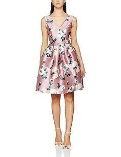 10, Pink, Chi Chi London Women's V Neck Midi Dress NEW