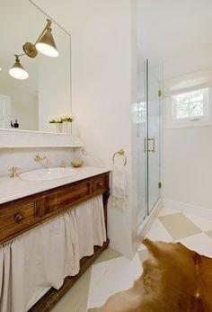 La Dolce Vita - basements - Visual Comfort Lighting Boston Functional Wall Sconce, neutral bathroom, painted wood floors, diamond patterned ...