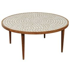 Round Walnut Table with Studio Tiles by Gordon Martz for Marshall Studios | From a unique collection of antique and modern coffee and cocktail tables at https://www.1stdibs.com/furniture/tables/coffee-tables-cocktail-tables/