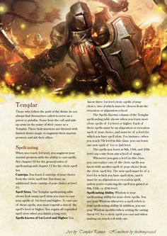 DnD Homebrew — Fighter Subclass: Templar by firebringeraxel Spell. Dungeons And Dragons Classes, Dungeons And Dragons Homebrew, Dnd Paladin, Dnd Races, Dnd Classes, Science Fiction, Pathfinder Rpg, Pathfinder Character, Dnd 5e Homebrew