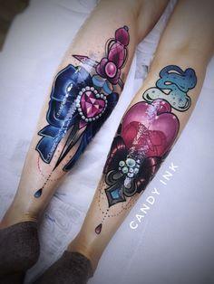 #neo #traditional #girly #tattoo #crystal #diamond #heart #ribbon #bow #dagger #knife #bottle #flower #smoke