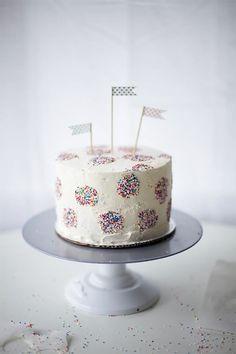 Sprinkled Polka Dotted Birthday Cake