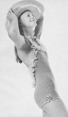 Vintage 1970s Knit Swimsuit with Daisy Trim Pattern PDF 7214