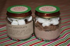 fresh crafts: fresh homemade christmas gifts - hot chocolate in a baby food jar love this idea from Cassi Christmas Jars, Homemade Christmas Gifts, Christmas Candy, Homemade Gifts, Christmas Ideas, Christmas Crafts, Holiday Candy, Homemade Products, Christmas Design