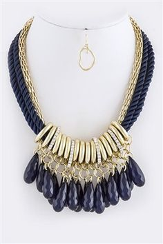 Briolette Fringe Necklace Earring set. Available @ www.shoplauramichelle.net